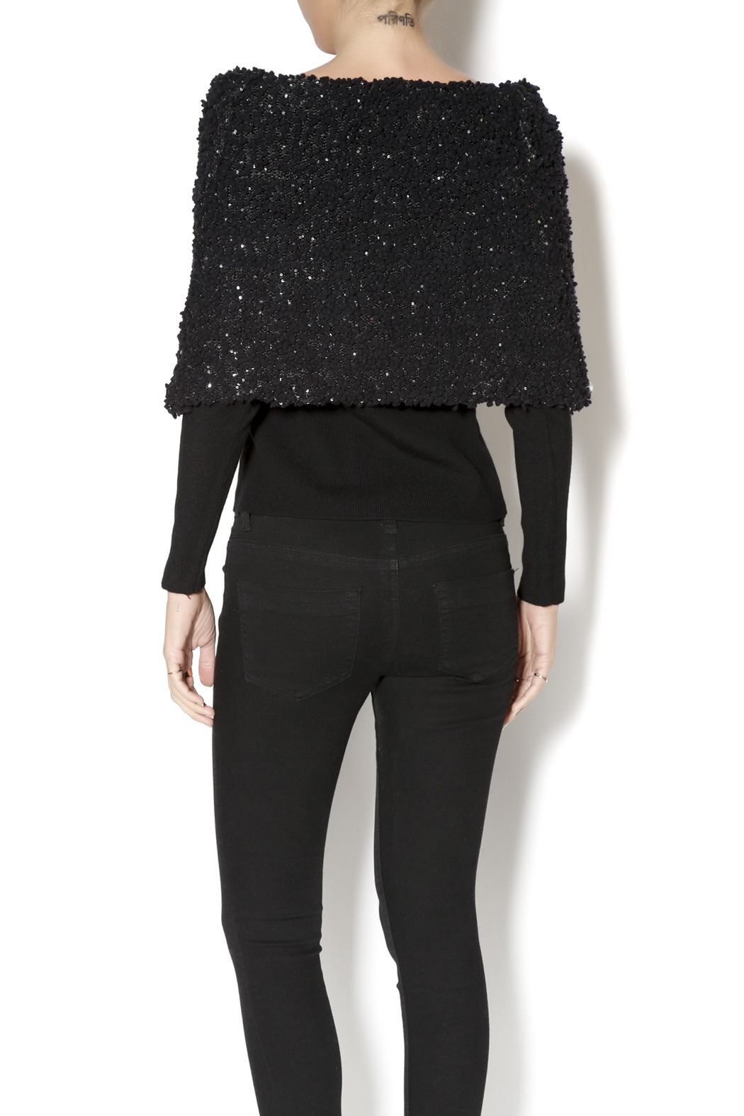 Talk of the Walk Textured Shimmer Sweater - Back Cropped Image