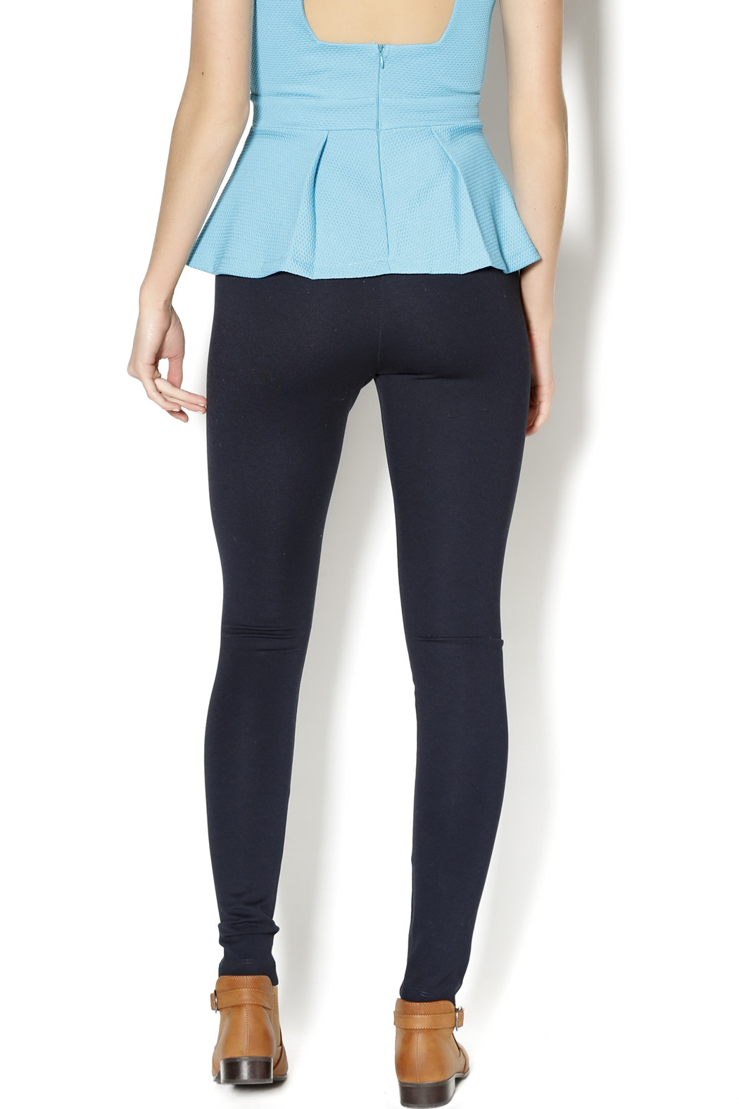Lyssé Navy Leggings - Back Cropped Image