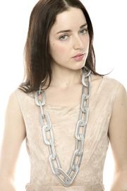 Alisha D Grey Chain Necklace - Front full body