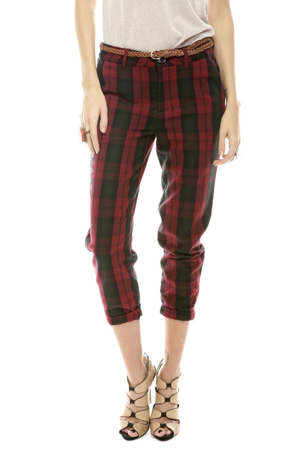Rails Red Plaid Pants - Front Cropped Image