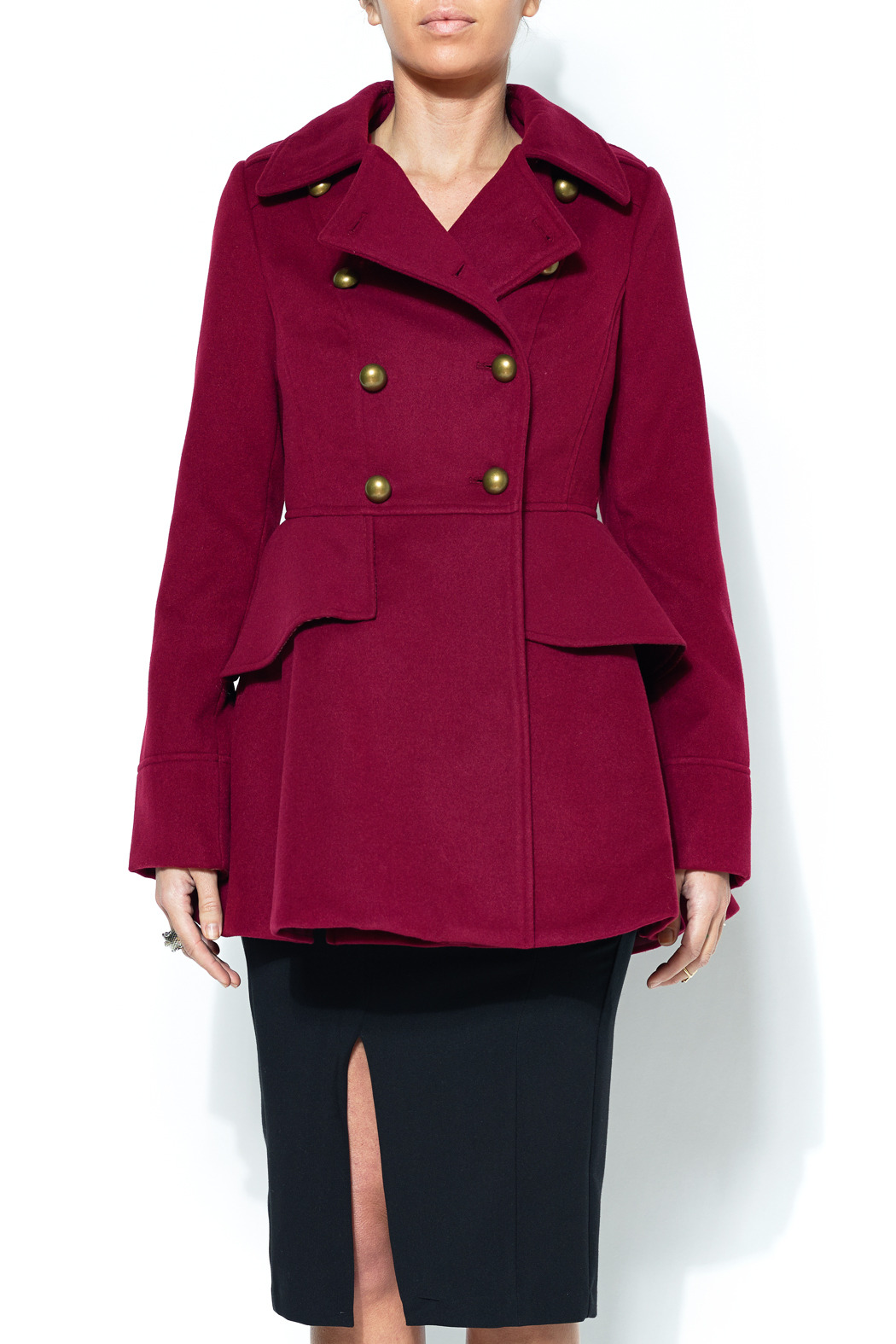 Santa Fe Apparel Military Peplum Coat - Front Cropped Image