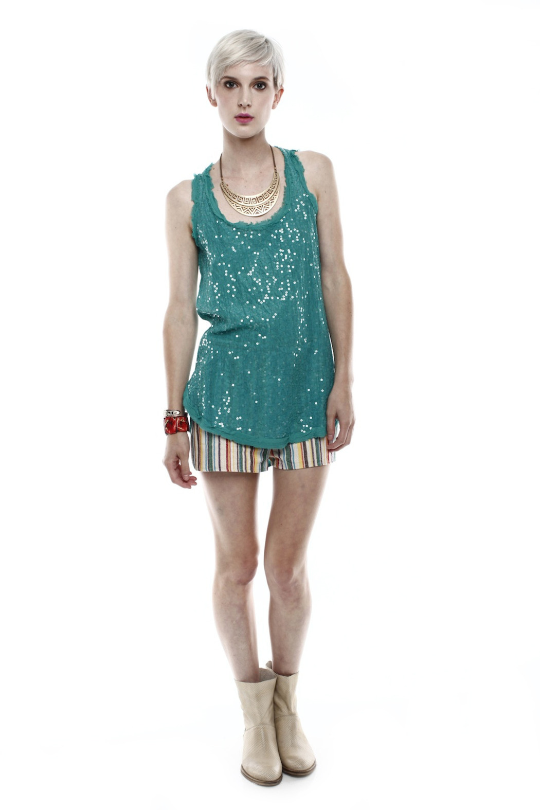 Baci Sequin Tank - Front Full Image