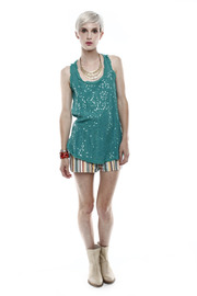 Baci Sequin Tank - Front full body