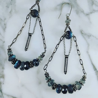 Shoptiques Product: Sterling Silver and Labradorite Earrings