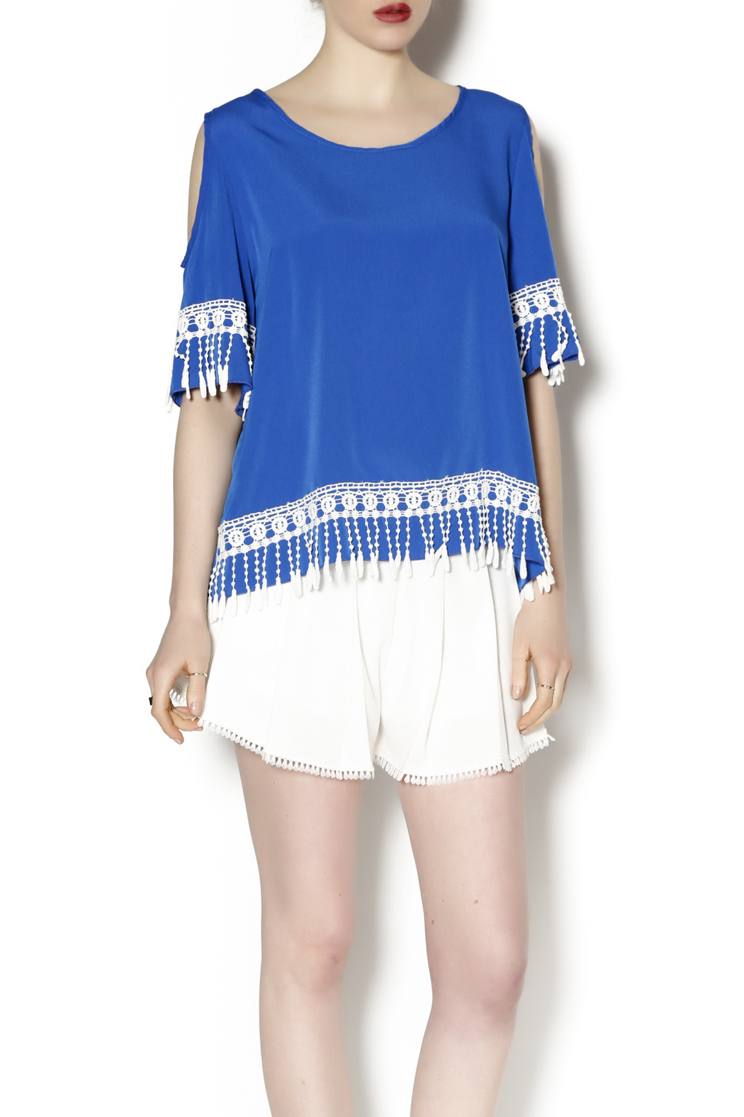 Abby & Taylor Blue Crochet Trim Tunic - Front Cropped Image