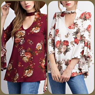 Shoptiques Product: Burgundy Floral Top