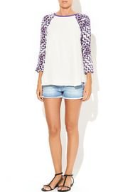 Rebecca Minkoff Print Sleeve Baseball Blouse - Front full body