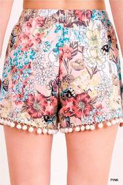 Umgee USA Floral Tassel Shorts - Back cropped