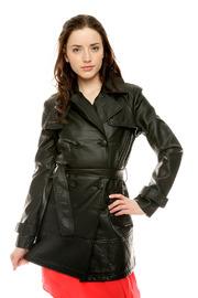 Members Only Pleather Trench - Product Mini Image