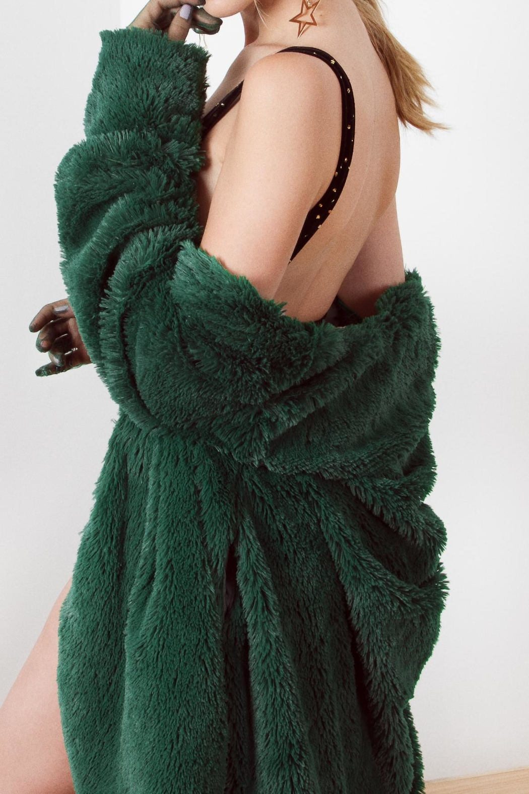 Da Wearhouse Fur Green Coat - Front Full Image