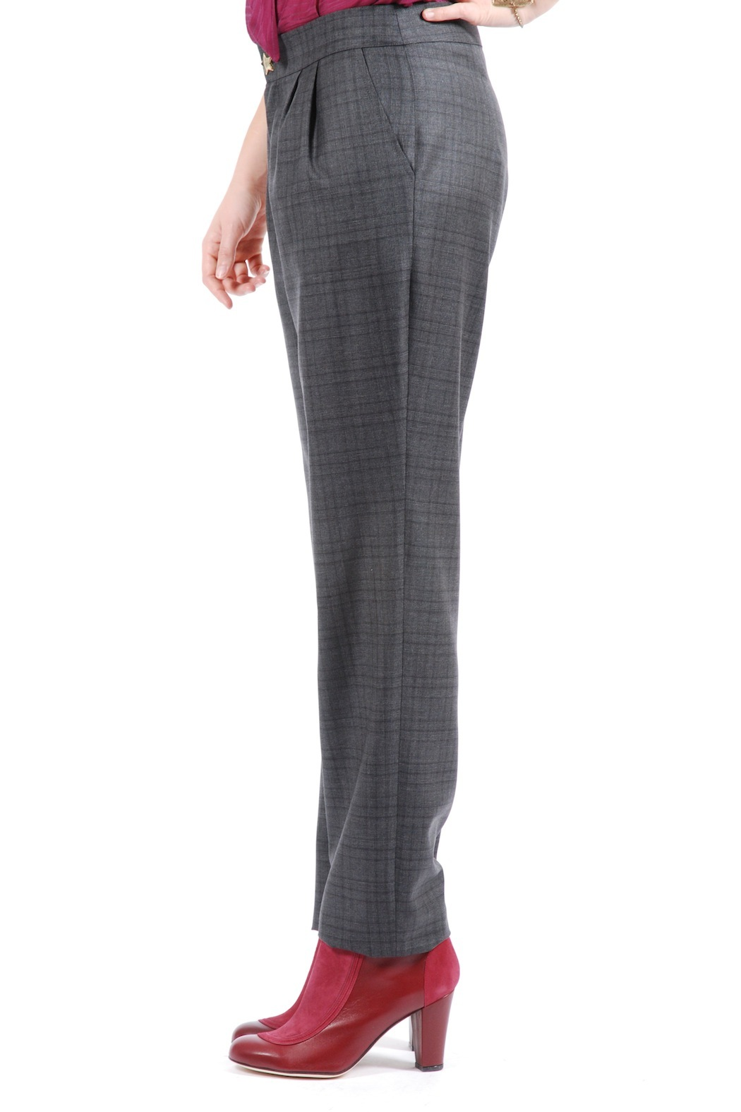 Phalaenopsis Pleated Cigarette Trousers - Side Cropped Image