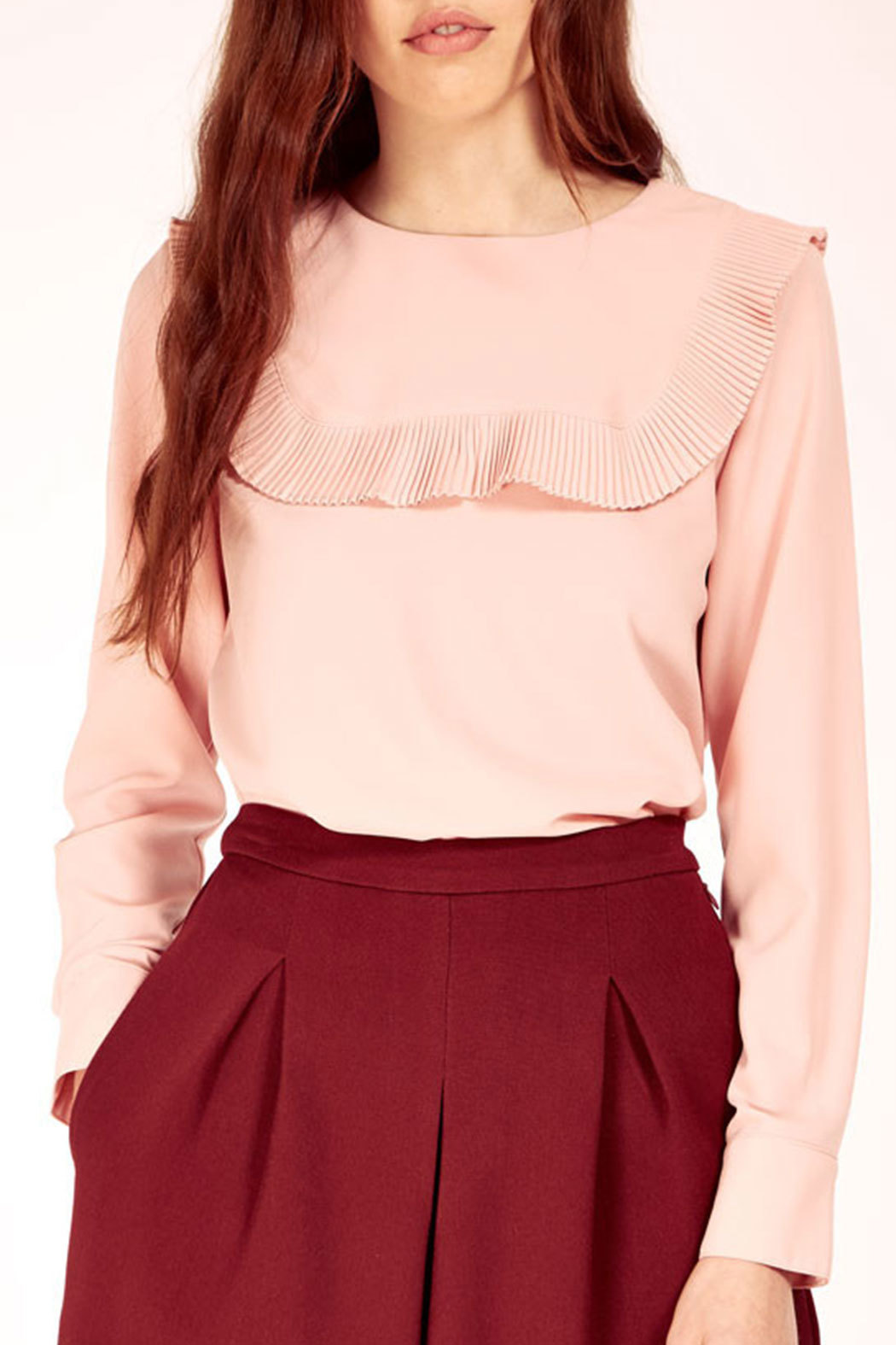 11a5b64c98fd1a Dahlia Pink Blouse With Oversized Pleated Bib Collar - Front Cropped Image