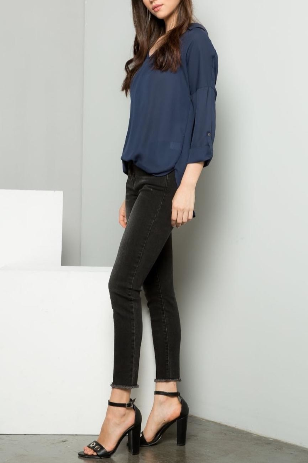 Dahlya Drop Shoulder Blouse - Front Cropped Image