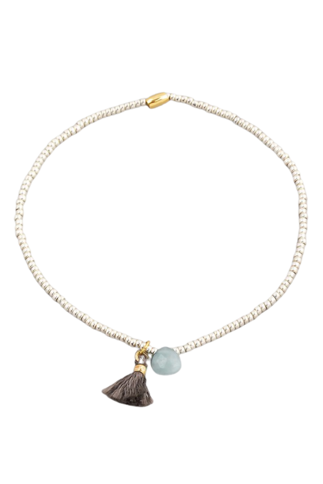 Fame Accessories Dainty Beaded Stone Tassel Bracelet - Front Cropped Image