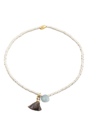 Fame Accessories Dainty Beaded Stone Tassel Bracelet - Front cropped