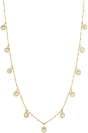 FAME ACCESORIES Dainty Bezel CZ Necklace - Front cropped