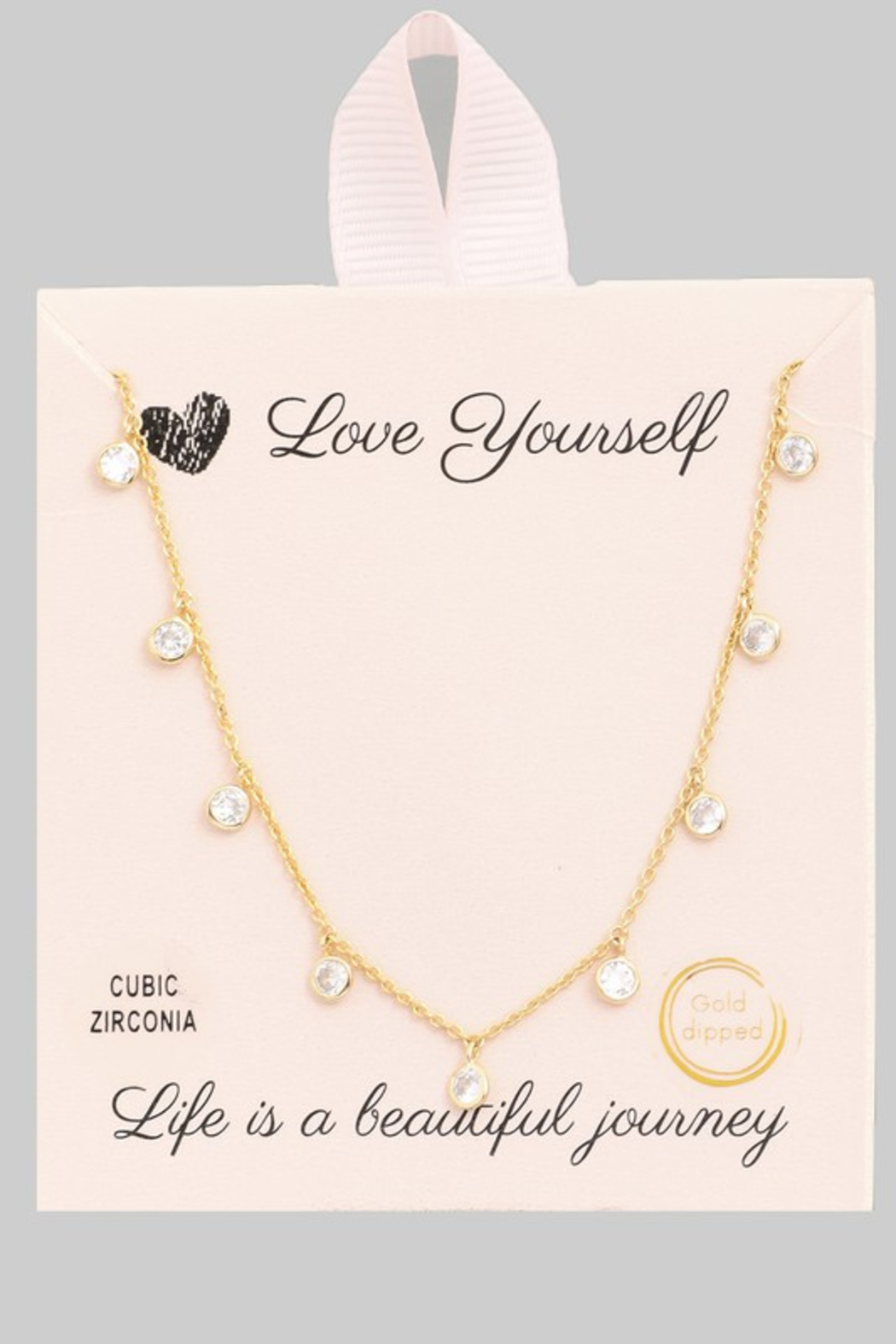 FAME ACCESORIES Dainty Bezel CZ Necklace - Front Full Image