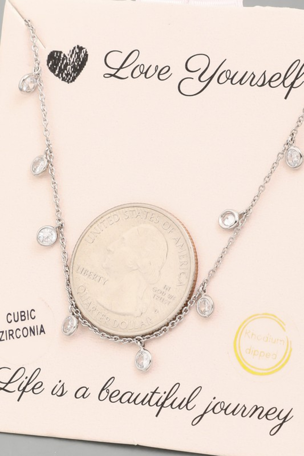 FAME ACCESORIES Dainty Bezel CZ Necklace - Side Cropped Image