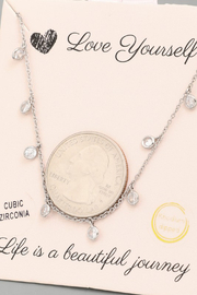 FAME ACCESORIES Dainty Bezel CZ Necklace - Side cropped