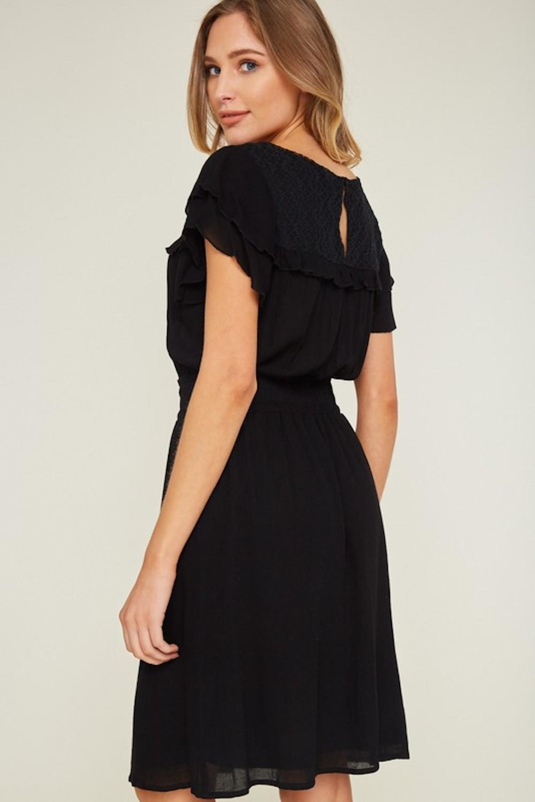 LLove USA Dainty Black Dress - Front Full Image
