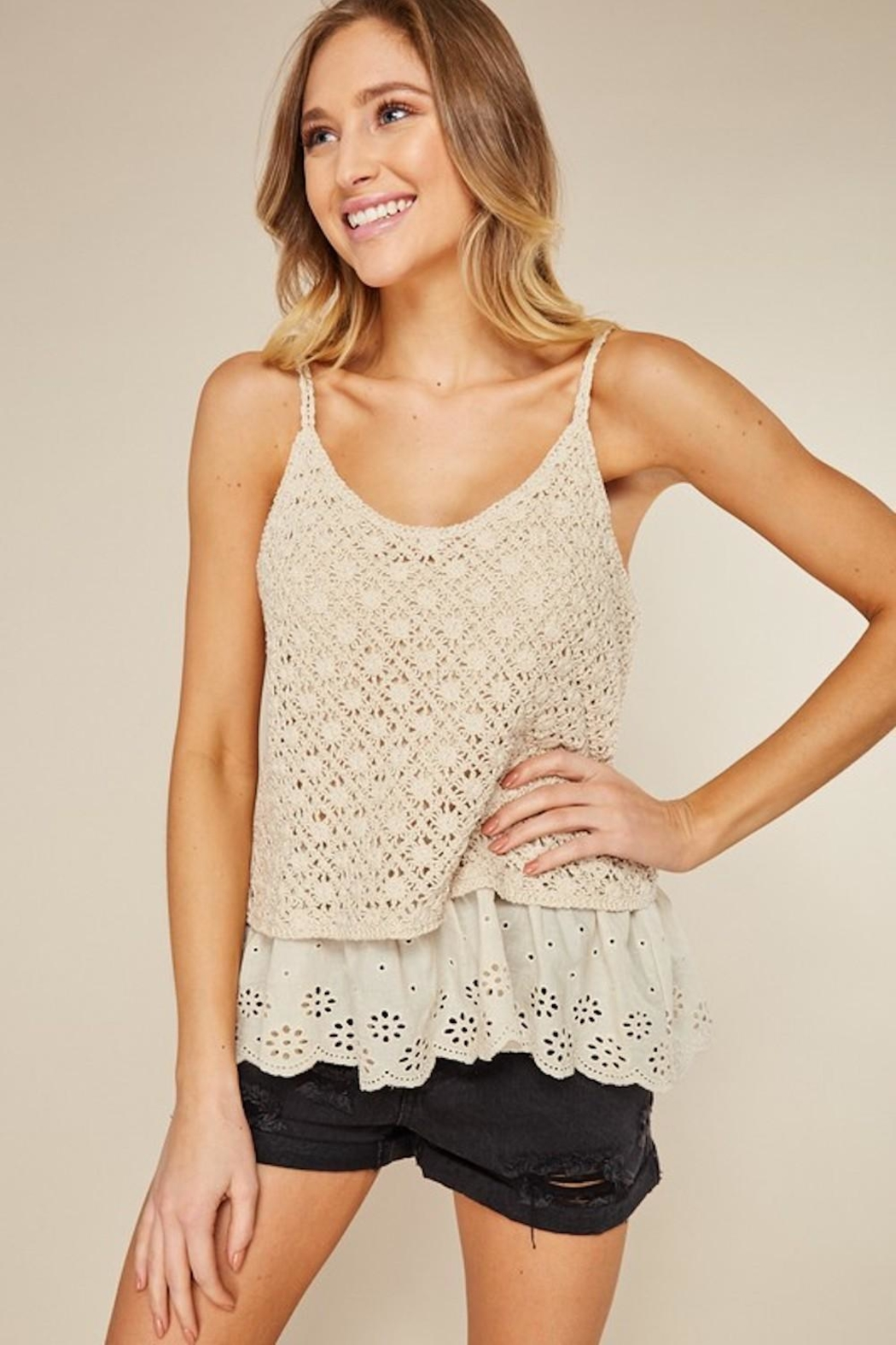 LLove USA Dainty Cream Crochet - Side Cropped Image