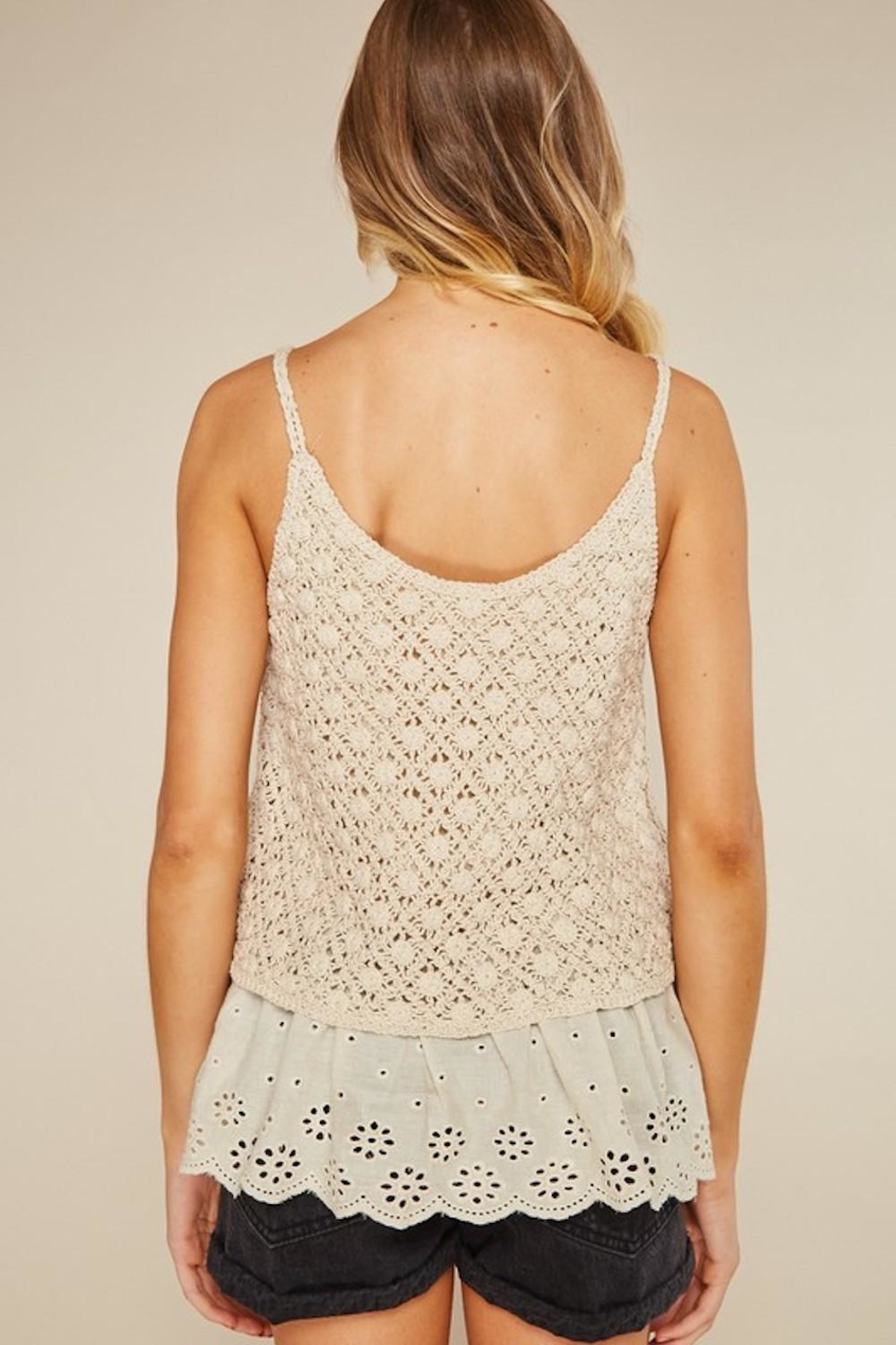 LLove USA Dainty Cream Crochet - Back Cropped Image