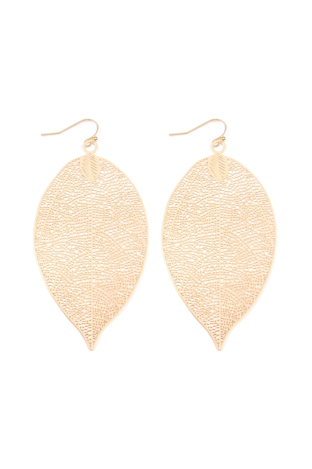 Riah Fashion Dainty-Filigree Leaf-Hook Earrings - Front Cropped Image