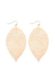 Riah Fashion Dainty-Filigree Leaf-Hook Earrings - Front cropped