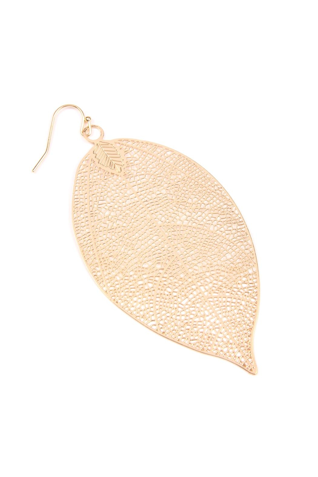 Riah Fashion Dainty-Filigree Leaf-Hook Earrings - Front Full Image