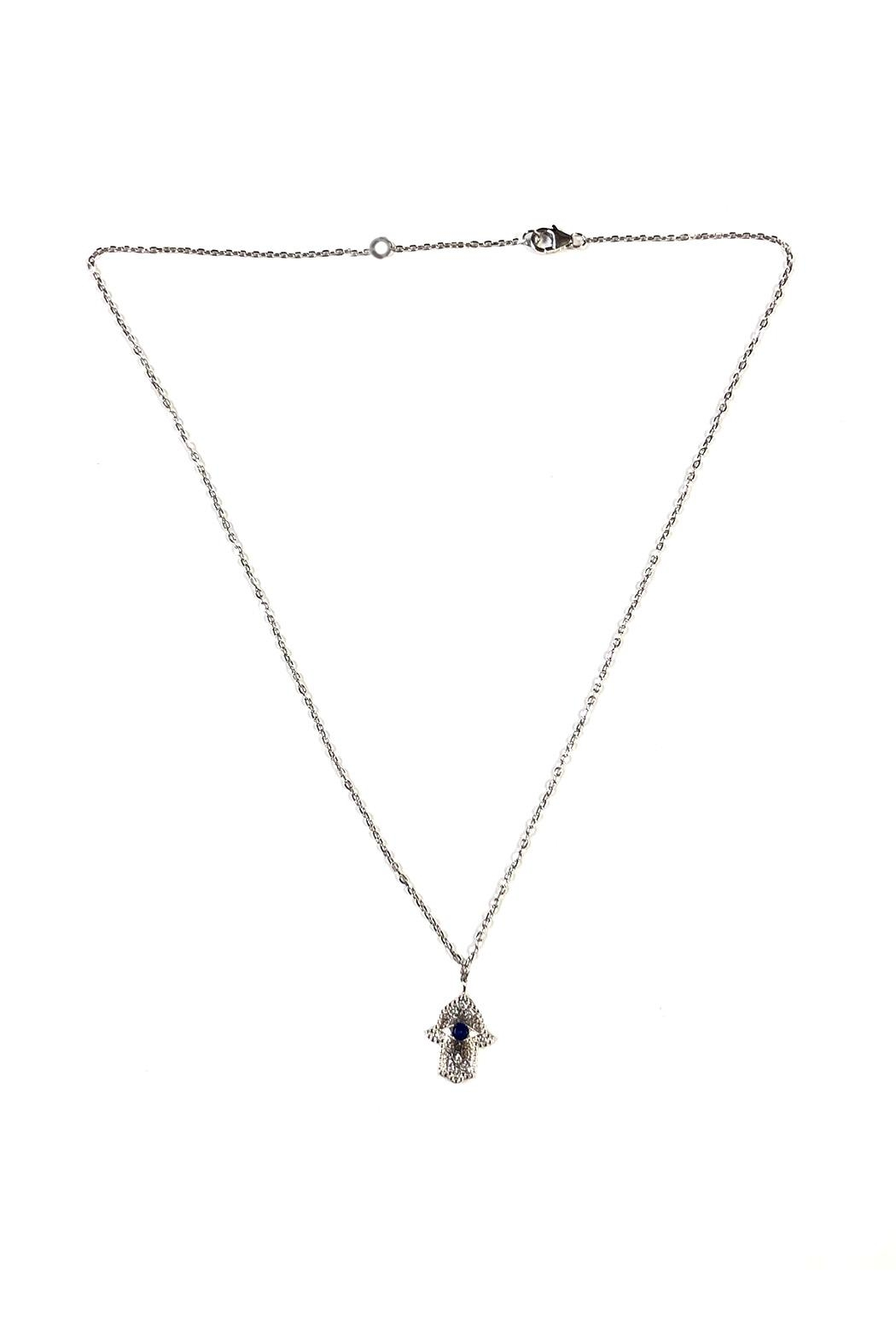 Lets Accessorize Dainty Mini-Hamsa Necklace - Front Cropped Image