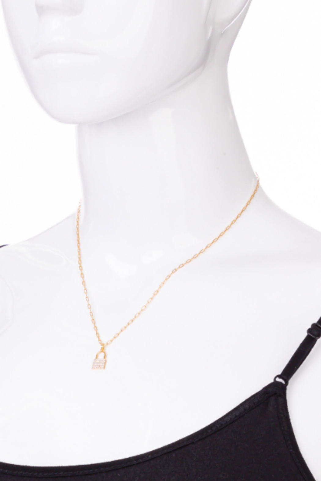 FAME ACCESORIES Dainty Padlock Necklace - Side Cropped Image