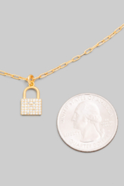 FAME ACCESORIES Dainty Padlock Necklace - Front full body