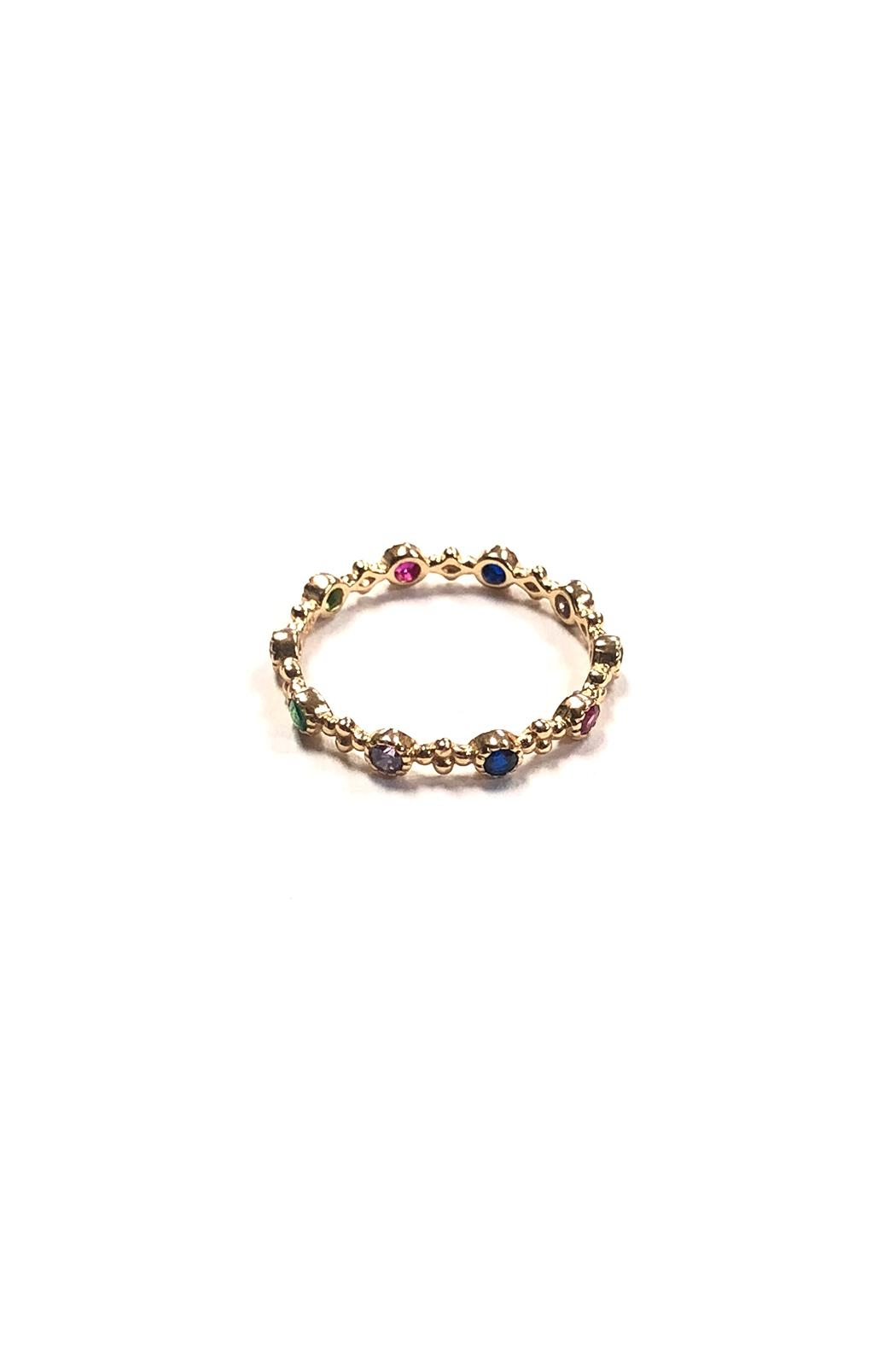 Lets Accessorize Dainty Rainbow Ring - Front Full Image