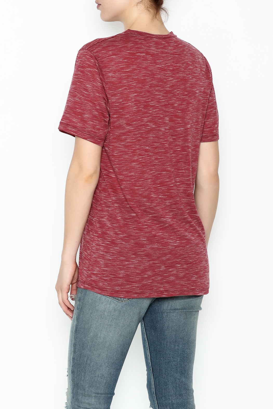 Daisey Ray Merlot Graphic Tee - Back Cropped Image