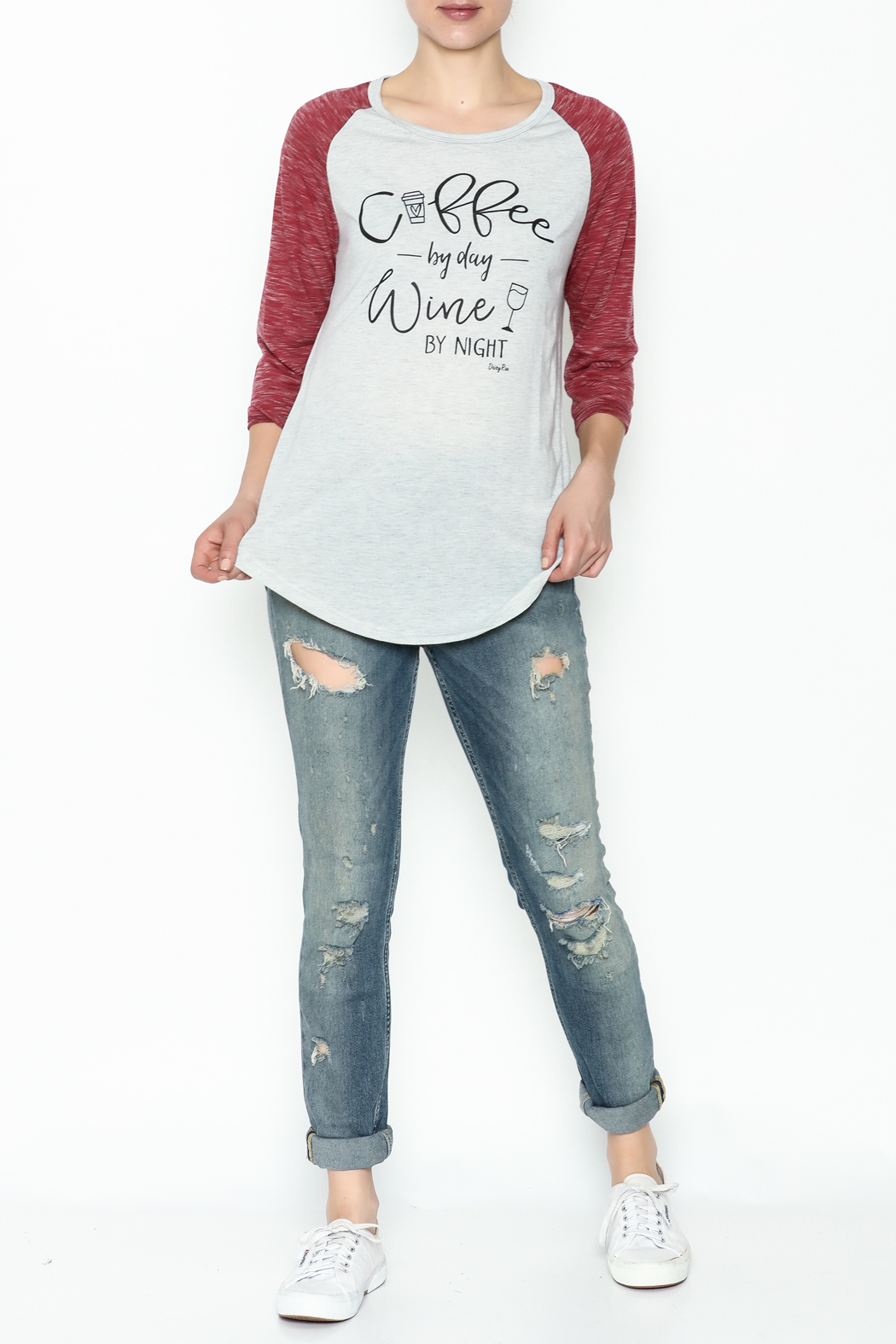 Daisey Ray Wine Long Sleeve Top - Side Cropped Image