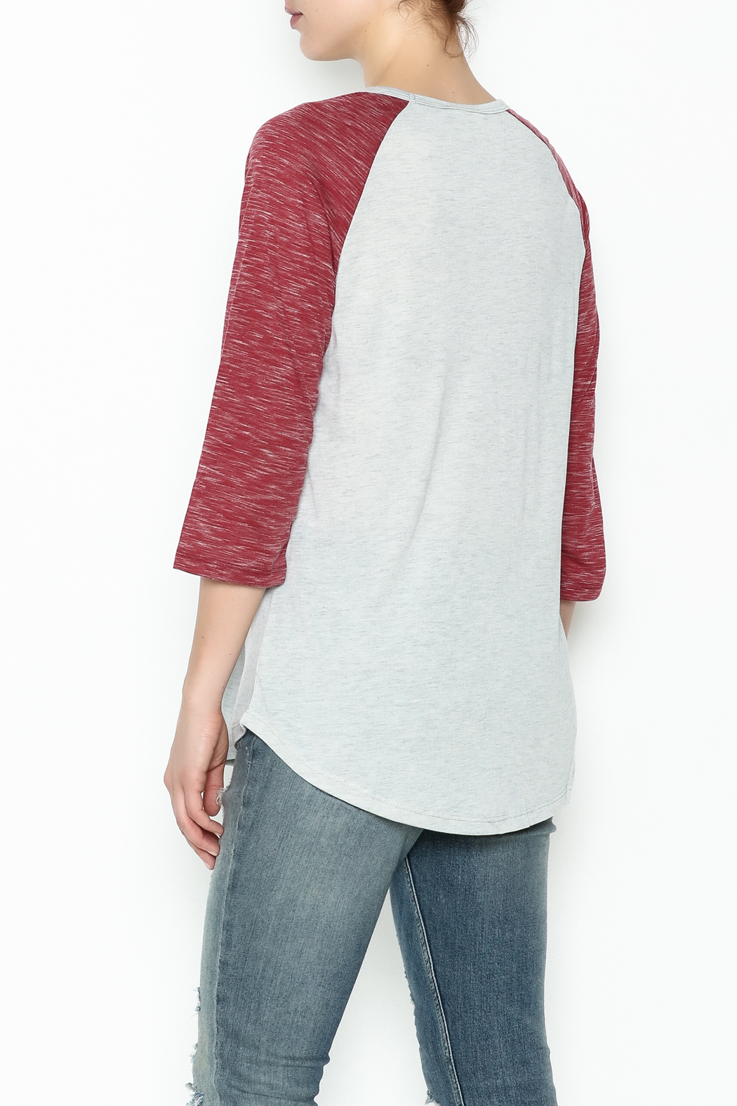 Daisey Ray Wine Long Sleeve Top - Back Cropped Image