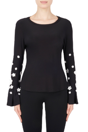 Joseph Ribkoff USA Inc. Daisy Applique Sleeve Top - Product Mini Image