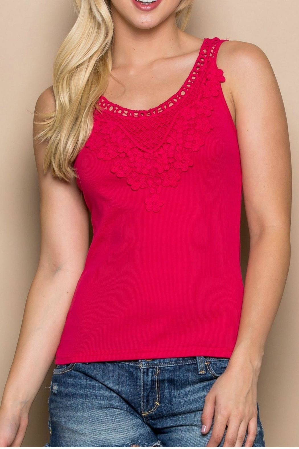 GeeGee Daisy Crochet Tank - Front Cropped Image