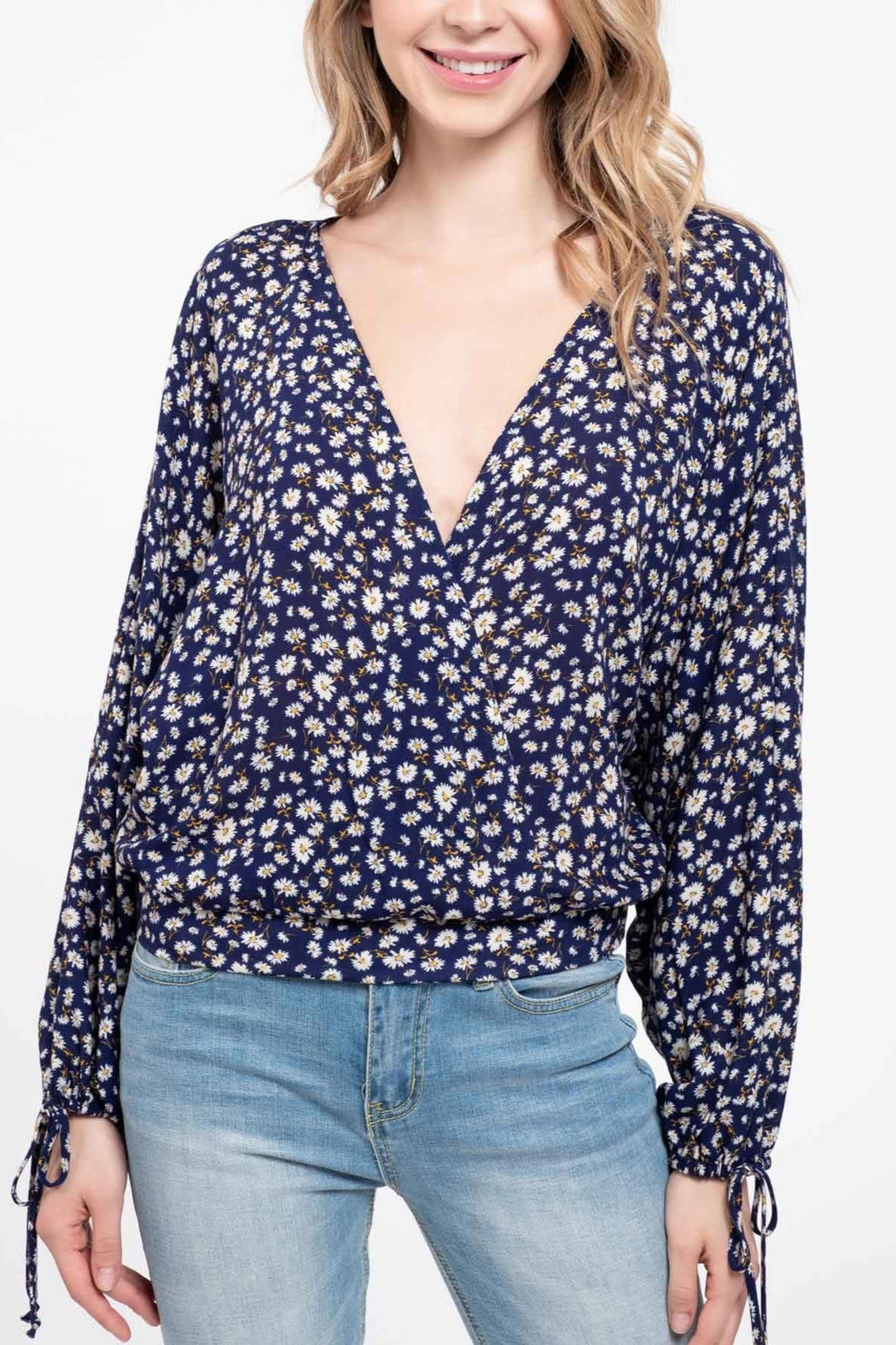 Blue Pepper Daisy Open-Back Top - Front Full Image