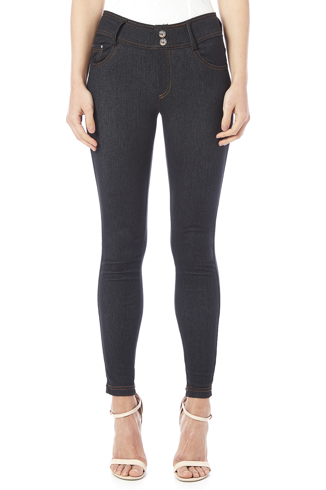 Daisy's Fashions Crystal Accented Jeggings - Side Cropped Image