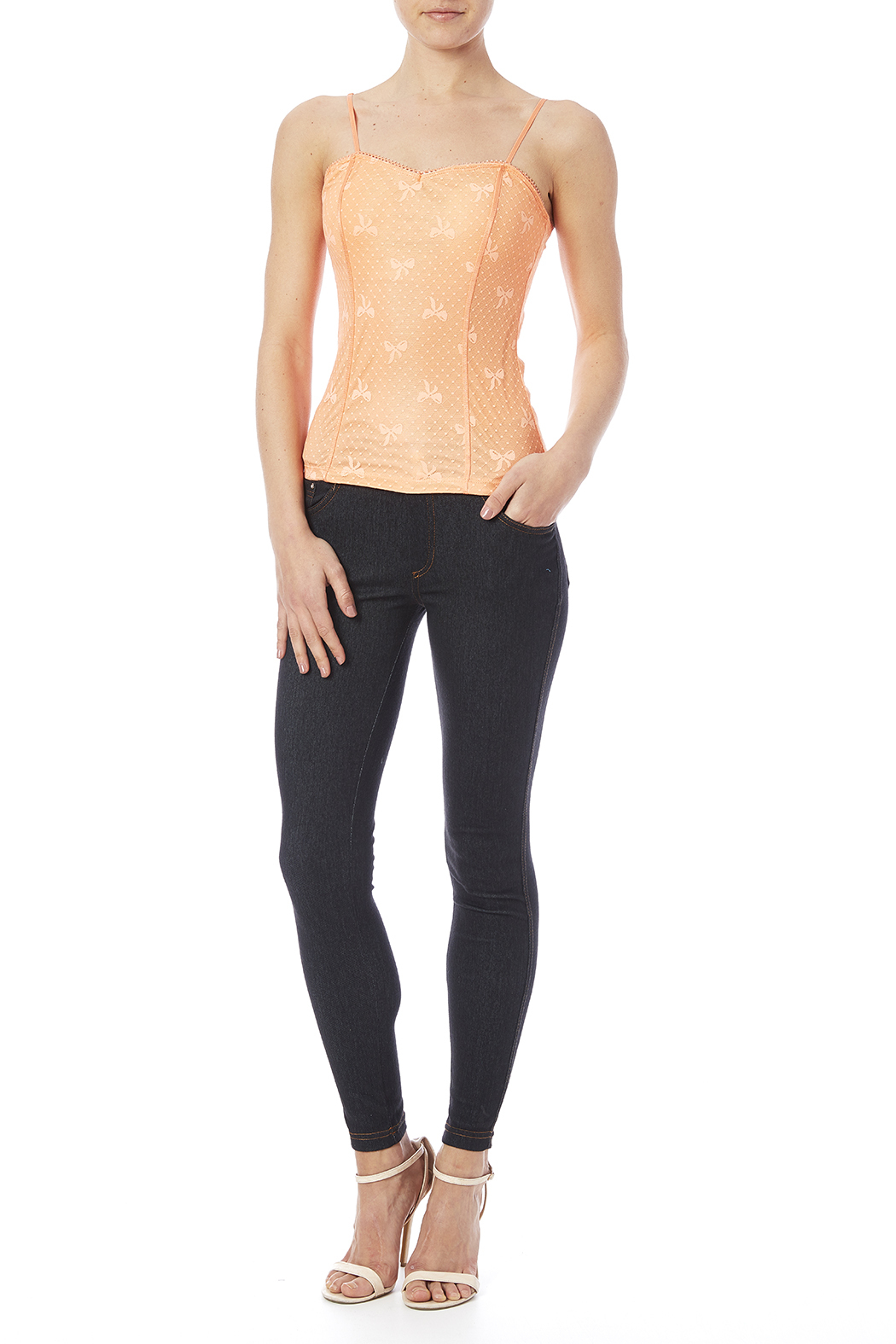 Daisy's Fashions Crystal Accented Jeggings - Front Full Image