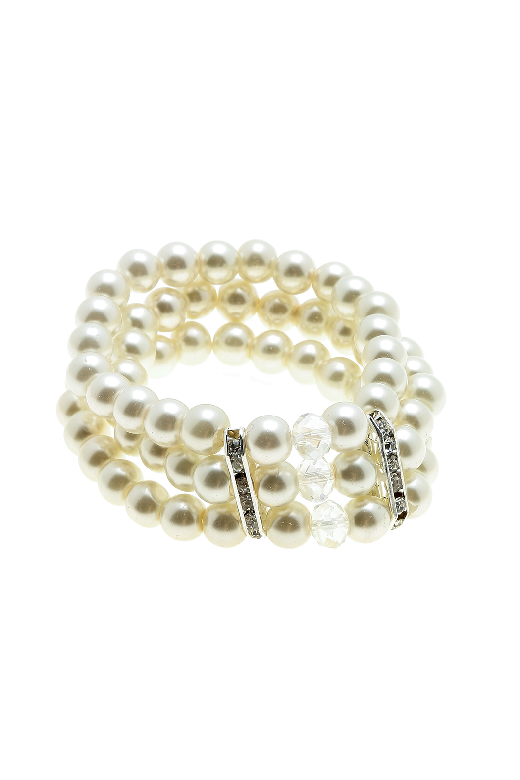 Daisy's Fashions Faux Pearl Bracelet  Front Cropped Image
