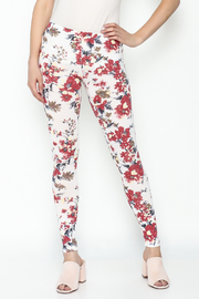 Daisy's Fashions Flower Print Leggings - Front cropped