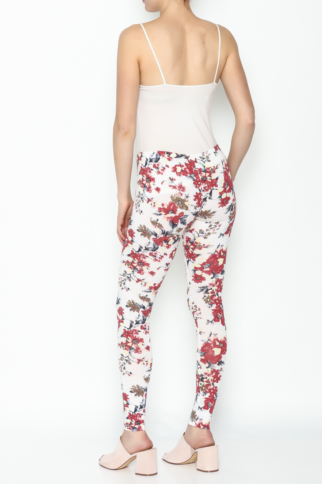 Daisy's Fashions Flower Print Leggings - Back Cropped Image