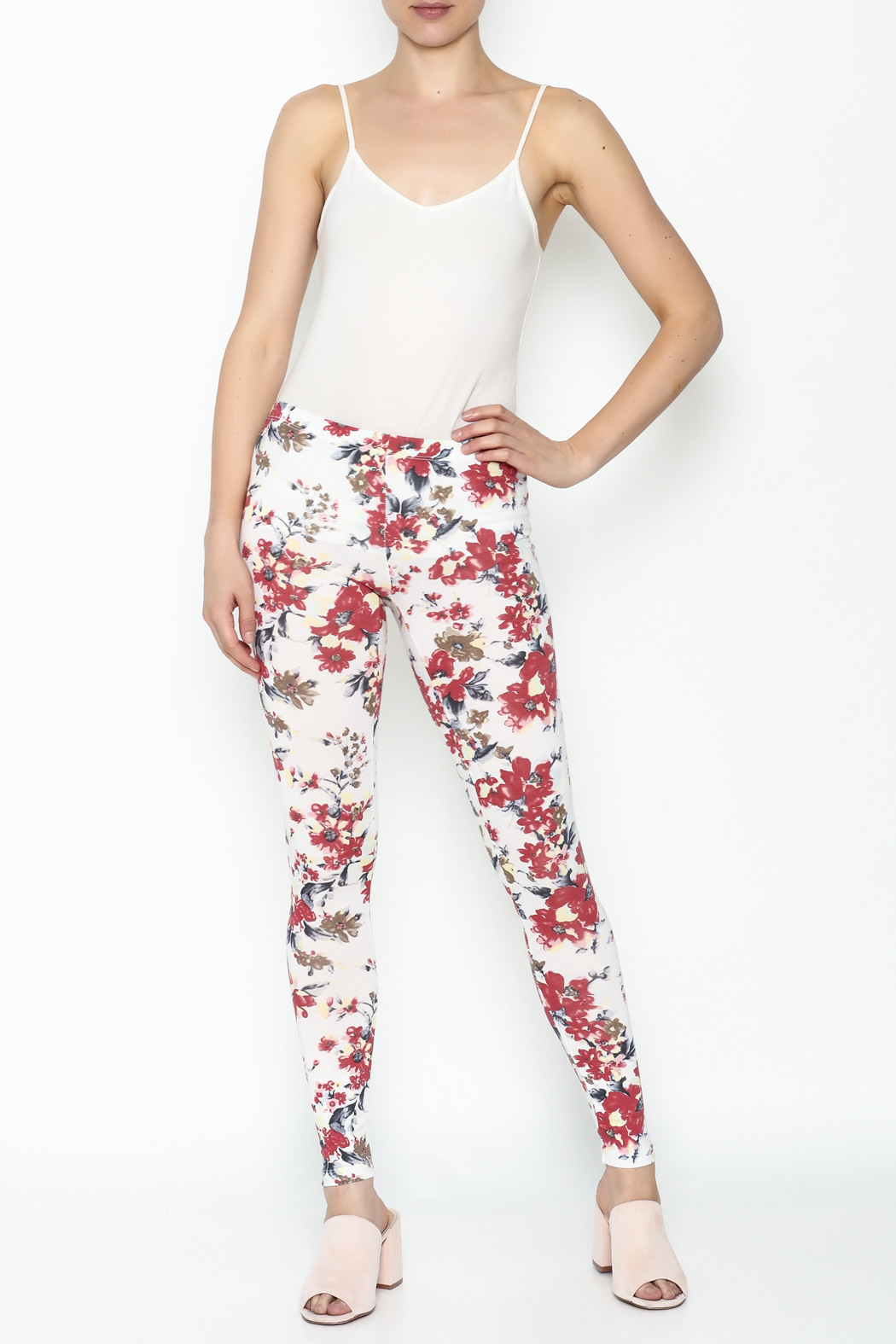 Daisy's Fashions Flower Print Leggings - Side Cropped Image