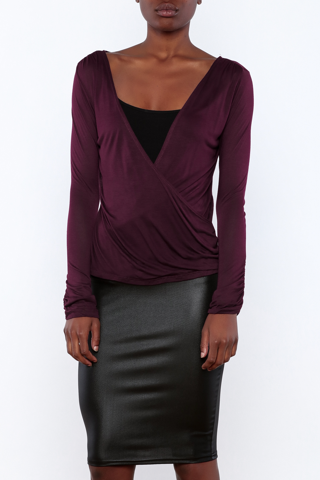 Daisy's Fashions Jersey Wrap Top - Front Cropped Image