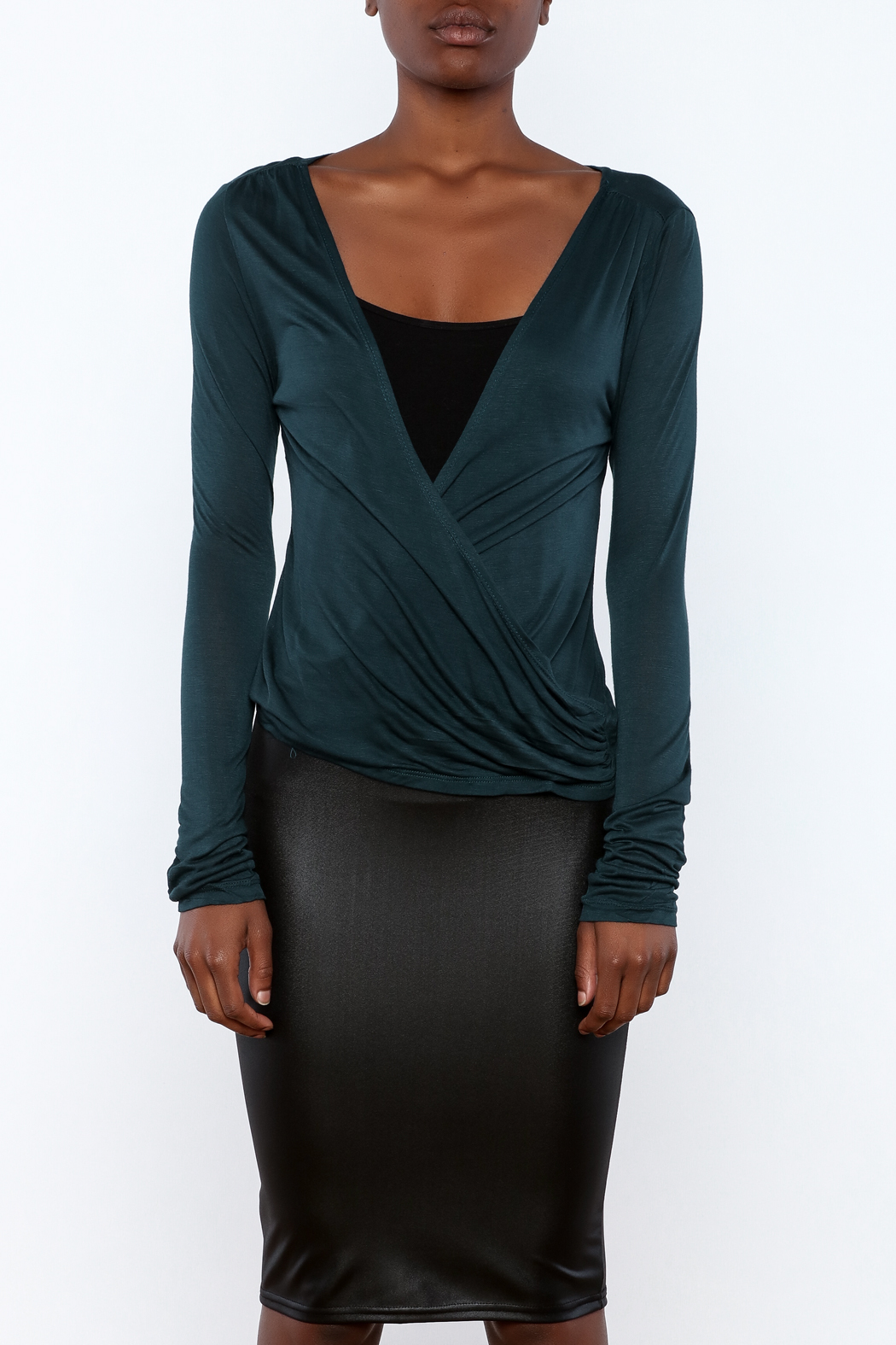 Daisy's Fashions Jersey Wrap Top - Side Cropped Image