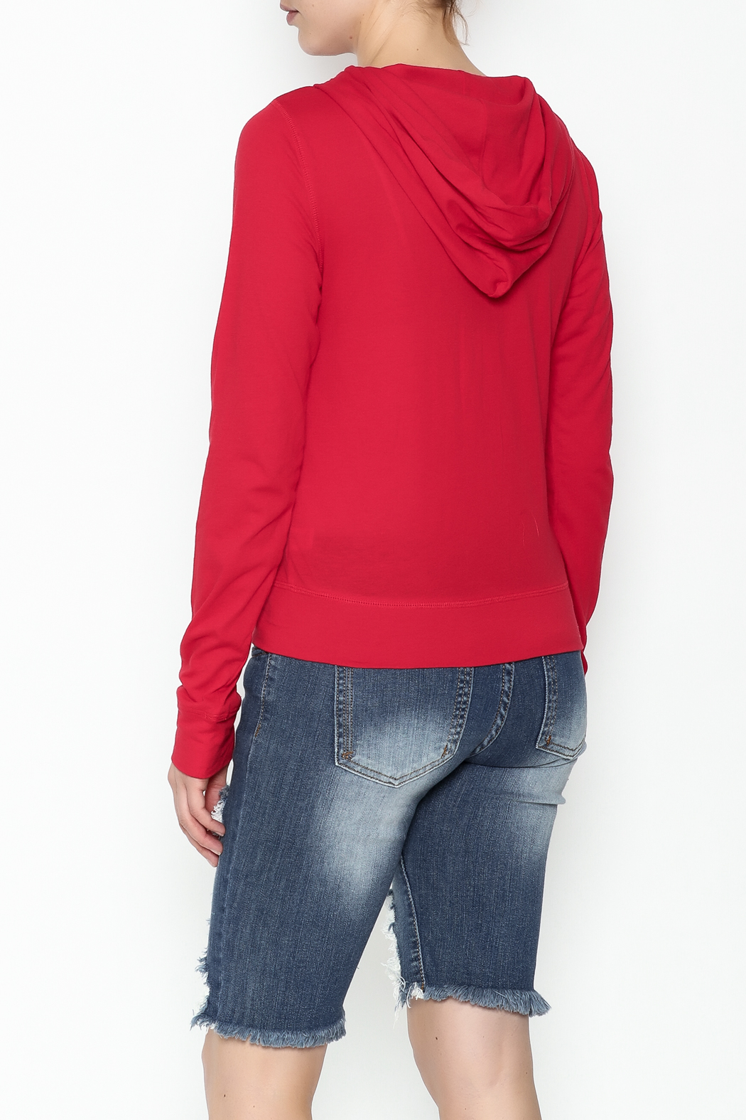Daisy's Fashions Melange Zip Up Hoodie - Back Cropped Image