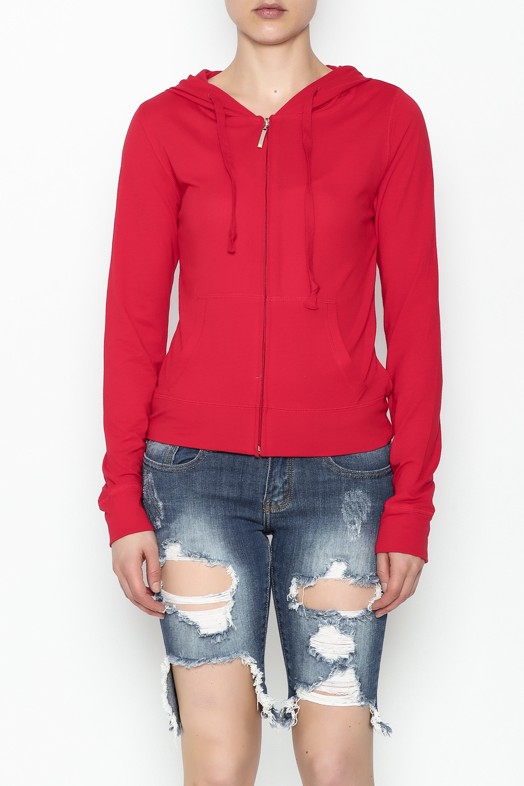 Daisy's Fashions Melange Zip Up Hoodie - Front Cropped Image