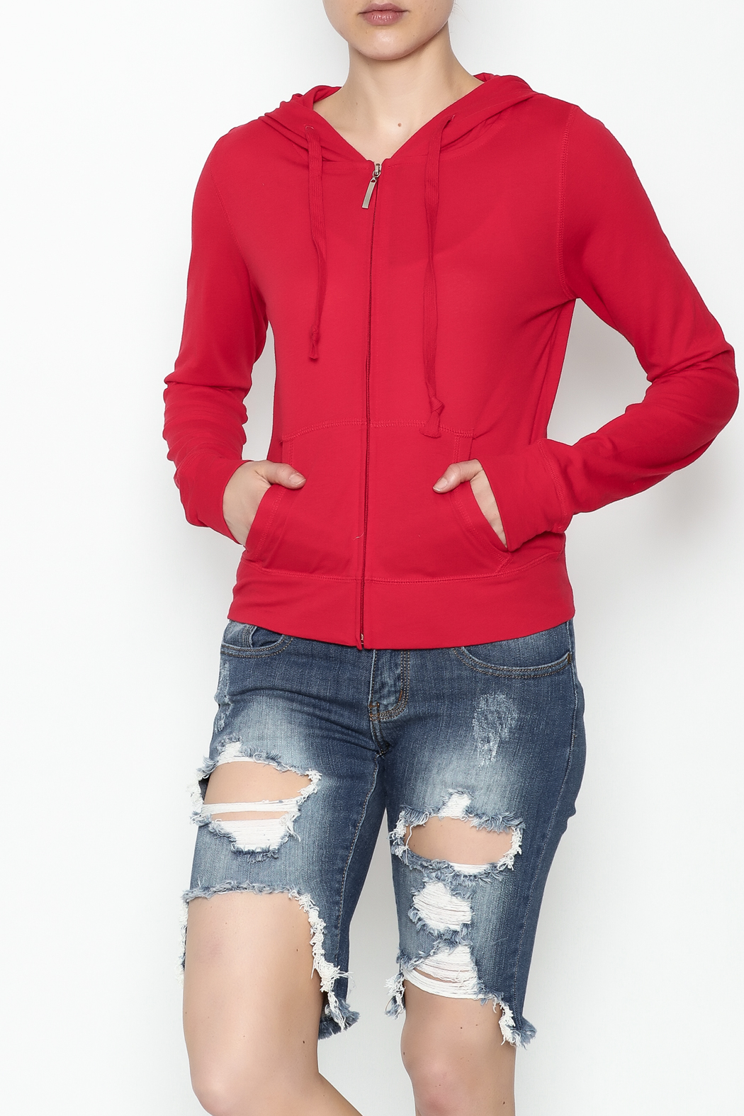 Daisy's Fashions Melange Zip Up Hoodie - Main Image